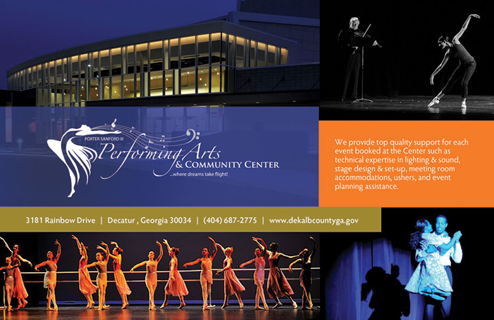 Porter Sanford Performing Arts and Community Center 2-page spread ad design